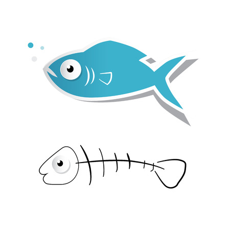 Paper Cut Fish and Fishbone Vector Illustration Isolated on White