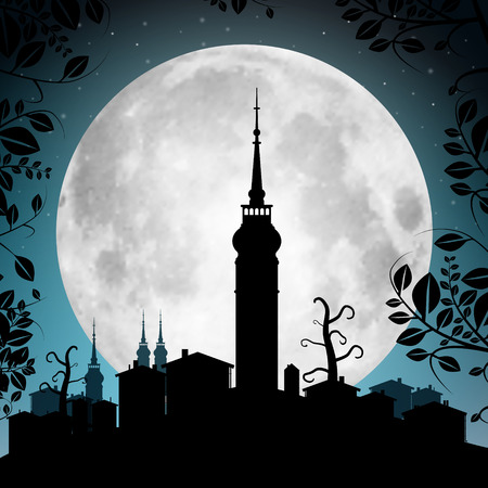 moon light: Full Moon Vector Illustration with Town Silhouette - Houses and Tower Illustration