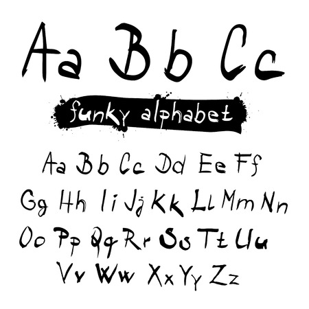 ABC - abc Funky Vector Black Hand Written Alphabet Set Isolated on White Background Vector