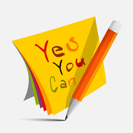 Yes You Can Slogan - Title on Papers with Pencil Vector Illustration