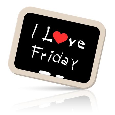 moved: I Love friday Slogan - Title on Blackboard Vector