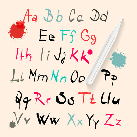 Funky Vector Hand Written Alphabet Set Isolated on Retro Paper Background Vector