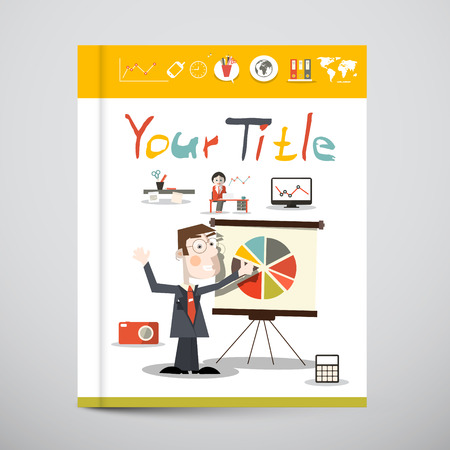 Funky Brochure - Business Book Vector Cover Design  with Graphs and Social Media Icons Vector