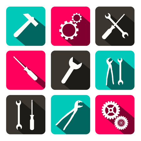 pincers: Vector Repair Technology Icons - Web Buttons with Cogs Gears, Screwdriver, Pincers, Spanner, Hand Wrench and Hammer Tools Illustration