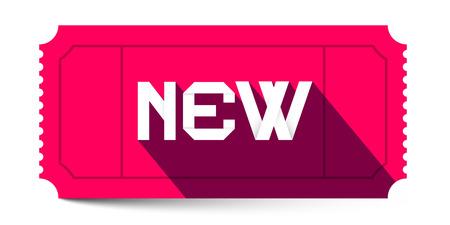 ticket vector: Nuevo t�tulo de ilustraci�n de entradas rosa retro vector