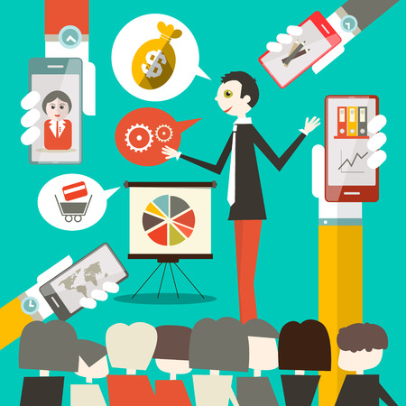 Businessman on Conference or Meeting Vector Illustration with Cell Phones in Hands Vector
