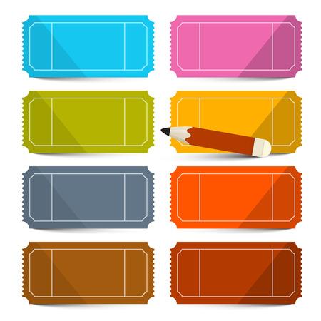 Colorful vecteur vide billets Set avec Crayon Illustration isolé sur fond blanc