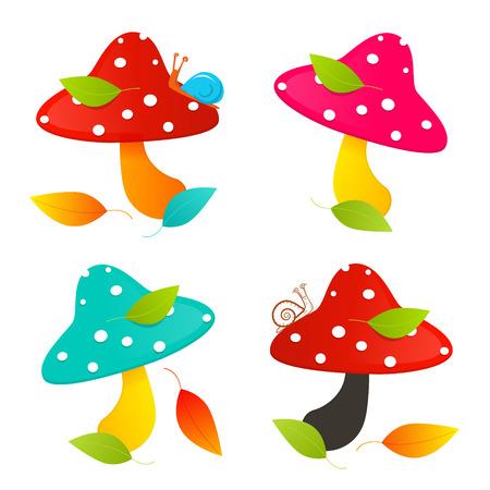 amanita: Amanita Mushroom Set - Colorful Vector Illustration