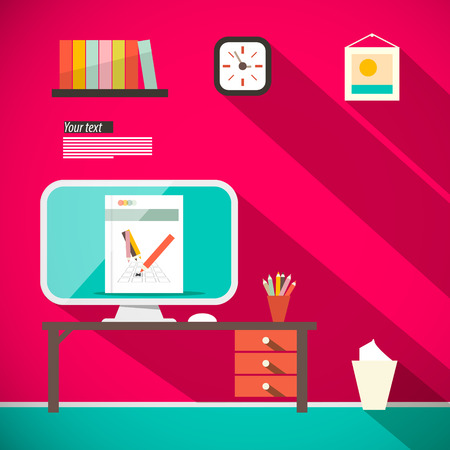 recycling bin: Studying Room - Office with Computer and Table Retro Flat Design Vector Illustration