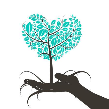 인간의 손 실루엣 심장 모양의 나무