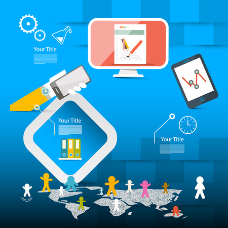 page layout: Blue Vector Web Page Layout or Brochure Report Infographics Template with Technology Icons and World Map