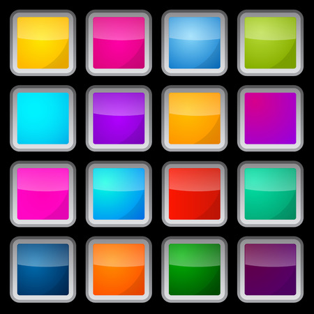 Colorful Vector Square Glass Buttons Set on Black Background Vector