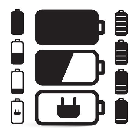 Flat Design Black Battery Life Vector Icons Set Isolated on White Background