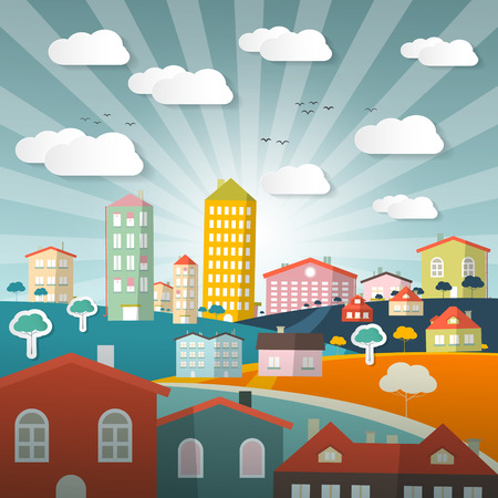 panorama city: Vector Landscape Town or City in Flat Design Retro Style Illustration