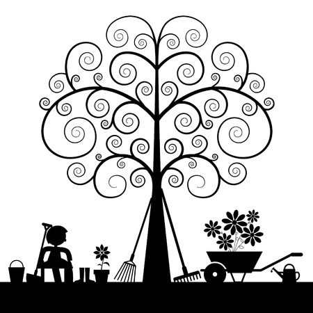 Tree Silhouette with Gardening Tools and Sitting Man Vector Illustration Vector