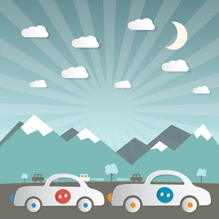 holliday: Cars on Road with Mountains on Background Vector