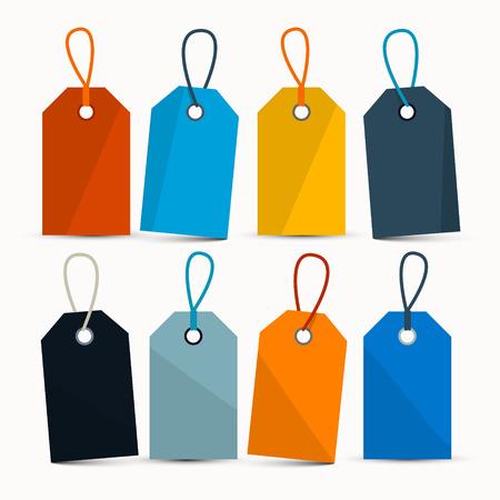 Puste Retro kolorowe wektorowe Etykiety z smyczki izolowana na białym tle