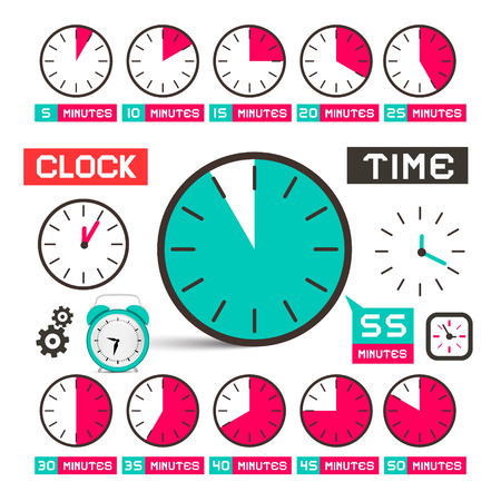 twenty second: Clock - Time Vector Icons Set Isolated on White Background
