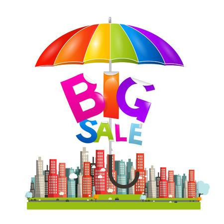 Big Sale Title with Colorful Parasol - Umbrella above City - Flat Design Vector Illustration