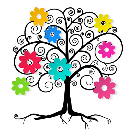 Abstract Vector Tree with Colorful Flowers Illustration