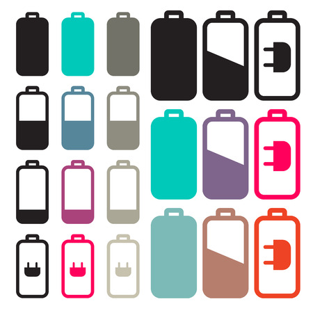 Flat Design Black Battery Life Vector Icons Set Illustration