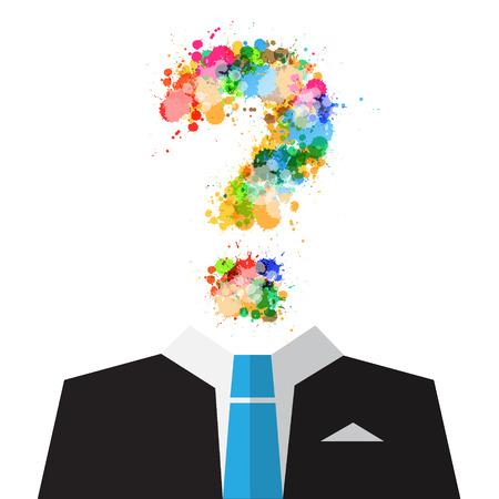 confundido: Vector Hombre en juego con el colorido de las salpicaduras del signo de interrogación Símbolo vez de cabeza aislada en el fondo blanco