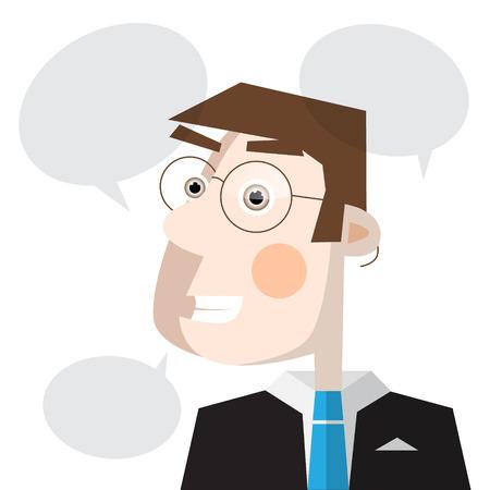 Man with Speech Bubbles Vector Vector