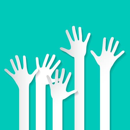 volunteer: Voting Hand - Paper Cut Palm Hands Set Vector Illustration on Retro Background