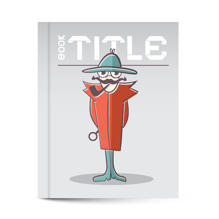 Book Cover with Detective Vector Illustration Vector