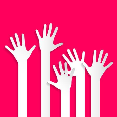 voting hands: Voting Hands - Paper Cut Palm Hands and Arms Set Vector Illustration on Pink Background Illustration