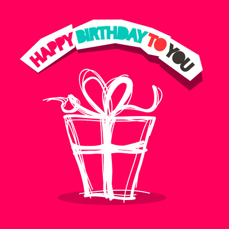 love box: Happy Birthday to You Title with Gift Box Outline on Pink Background Illustration Illustration