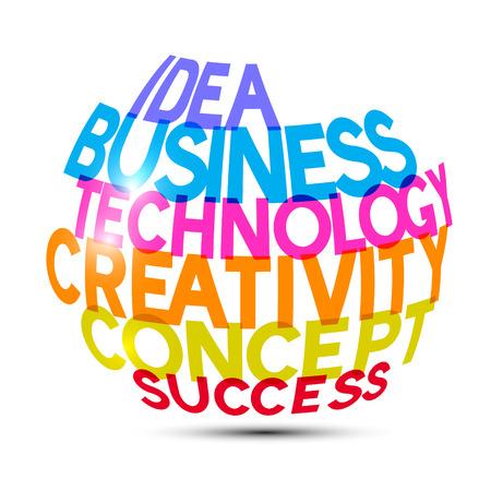 creativity concept: Idea Business Technology Creativity Concept Success Titles on White Background Vector Illustration Illustration