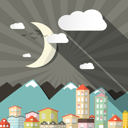 Vector Night Landscape Town or City in Flat Design Retro Style Illustration with Mountains and Moon Vector