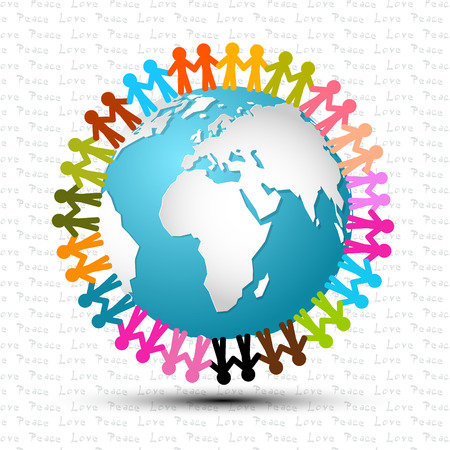 Love and Peace - People Holding Hands Around the Globe Vector Illustration Vettoriali
