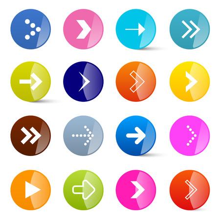 다채로운 벡터 화살표 화이트 절연 동그라미에서 설정