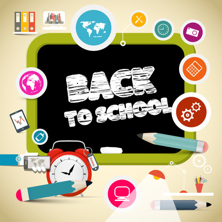 secondary colors: Vector Back to School Title on Black Board with Education Items Illustration