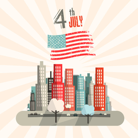 th: 4 th July Retro Vector Illustration with American Flag and City on Background