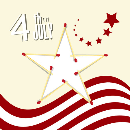 th: Independence Day - 4 th July Retro Vector Illustration with American Flag and Star