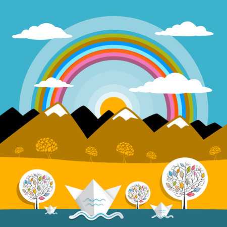Mountains Vector Landscape Nature Paper Mountains and River Illustration with Sun and Rainbow Vector