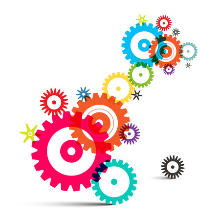 Transparent Colorful Wheals - Cogs - Gears Vector on White Background