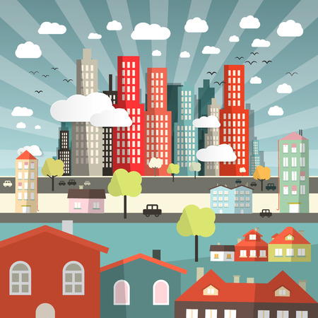 land development: Vector Landscape - Town or City with Cars and Houses in Flat Design Retro Style Illustration