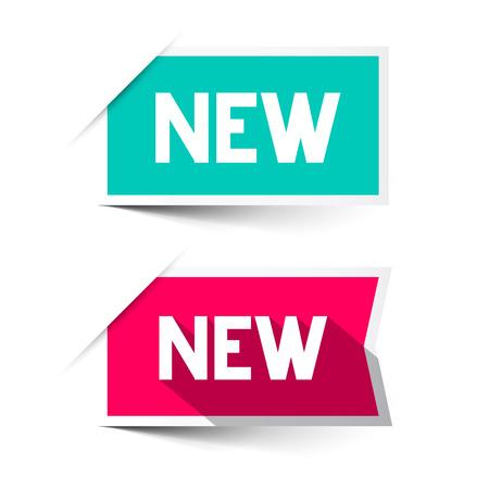 etiqueta: Nuevo rojo y azul de papel Vector Etiquetas - Establecer pegatinas aislados en blanco Vectores