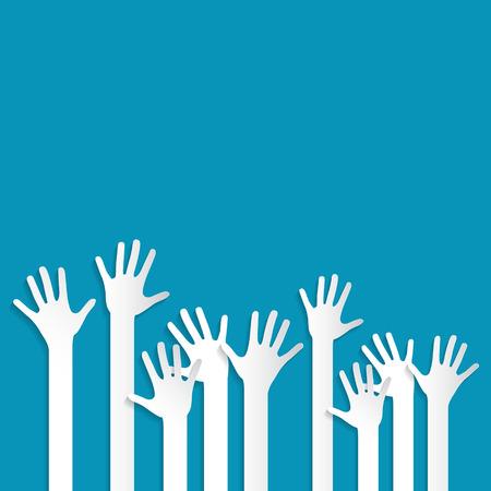 voting hands: Voting Hands on Blue Background Vector Illustration Illustration