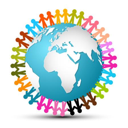 people holding hands: People Holding Hands Around Globe - Earth Vector