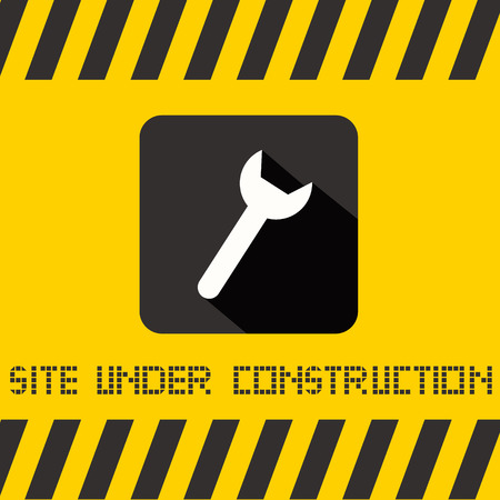 under construction sign: Site Under Construction Vector Title with Spanner Icon on Yellow Background Illustration