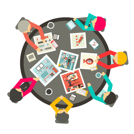 meeting table: People Around the Circle Table Vector Business Meeting Top View Illustration