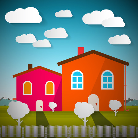 rural scene: Rural Scene with Houses and Mountains on Background Vector Illustration