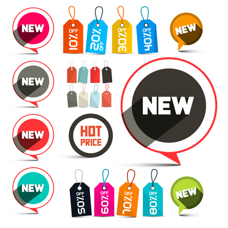 oink: Business Vector Labels - Stickers with New Title and Discount Tags Set with Strings