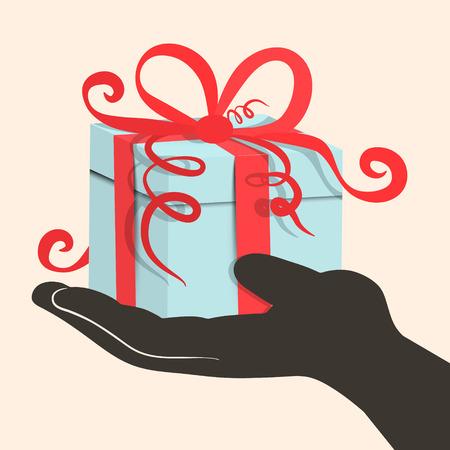 Gift Box - Present in Hand - Retro Vector Illustration 向量圖像