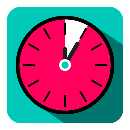 Retro Flat Design Clock - Five Minutes Stop Watch Vector Illustration